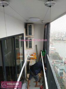 Lắp giàn phơi thông minh và lưới an toàn ban công nhà chị Huệ ở Five Star số 2 Kim Giang