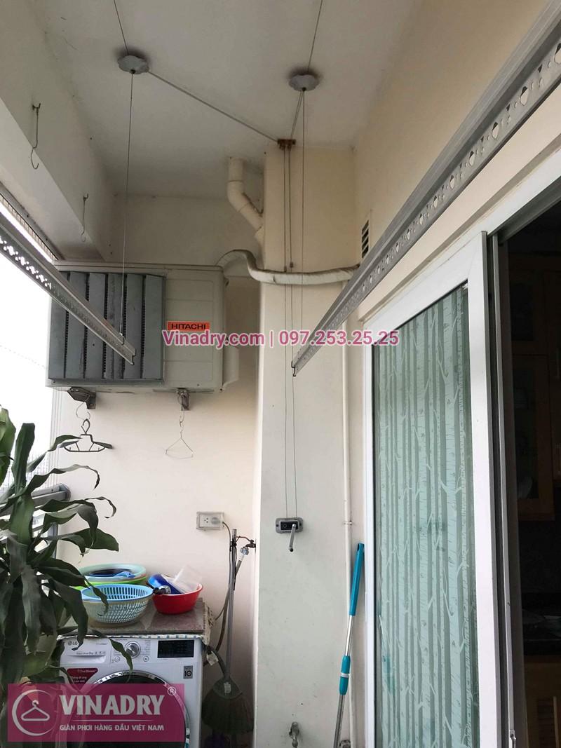 Bộ giàn phơi quần áo chung cư nhà chị Ly sau khi khắc phục sự cố
