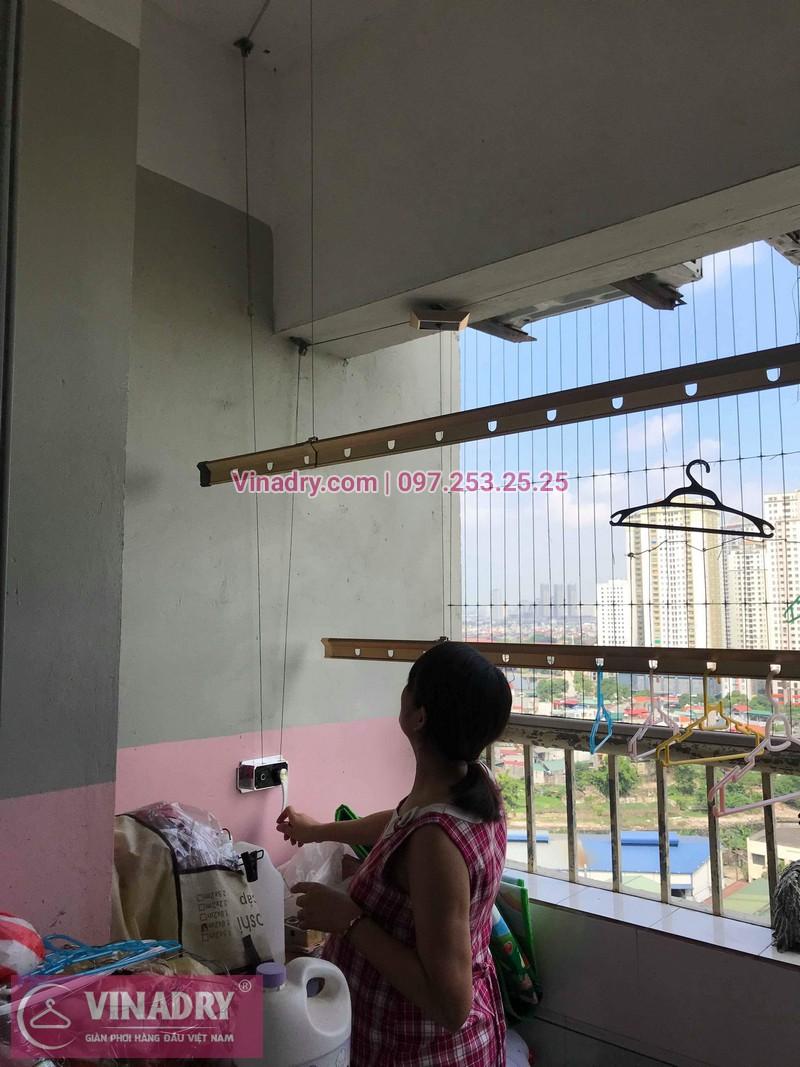 Thay bộ tời giàn phơi thông minh nhà chị Nhàn ở chung cư CT3 Xa La, Hà Đông