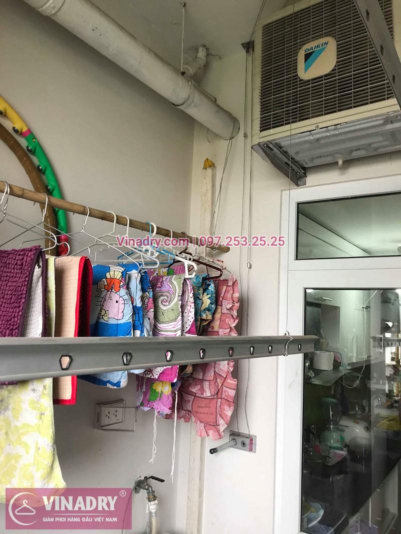 Hình ảnh thực tế bộ giàn phơi quần áo chung cư nhà anh Chiến