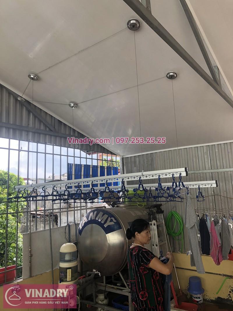Lắp giàn phơi Hòa Phát trên trần nhựa PVC nhà cô Thuấn ở ngõ Đình Đông