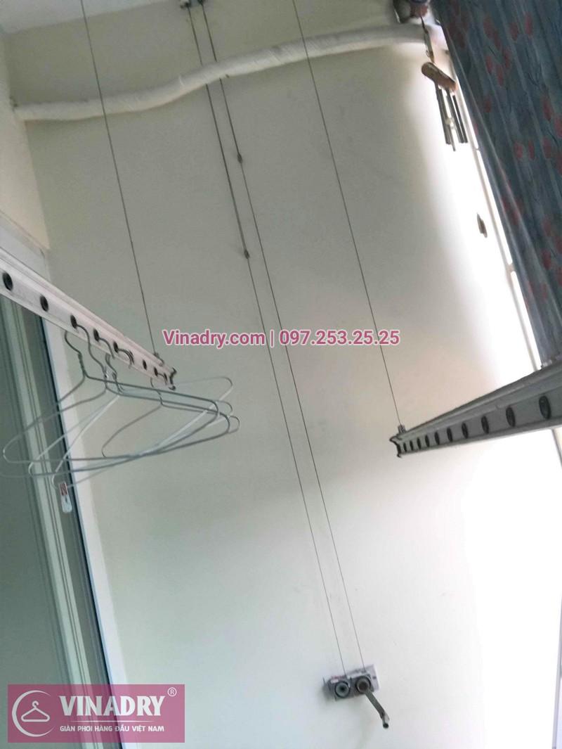 Bộ giàn phơi quần áo chung cư nhà chị Thi sau khi được thay dây cáp