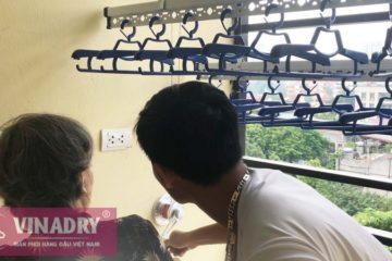 Lắp giàn phơi Ba Đình giá rẻ nhà cô Mẫn, chung cư số 3 Vạn Phúc - 01