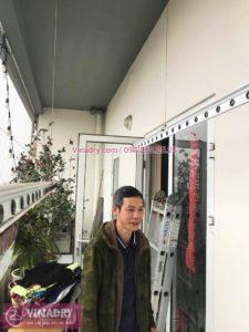 Sửa giàn phơi thông minh bị đứt 1 sợi cáp nhà chú Dương, chung cư 102 Ngụy Như Kon Tum - 01