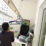 Sửa giàn phơi, thay dây cáp nhà chị Hoài, chung cư Hòa Bình Green, 505 Minh Khai