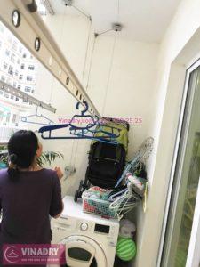 Sửa giàn phơi, thay dây cáp nhà chị Hoài, chung cư Hòa Bình Green, 505 Minh Khai - 03