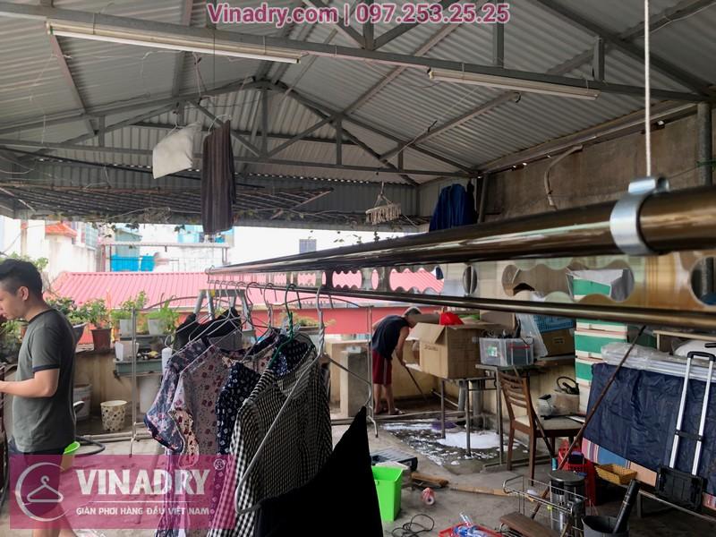 Lắp giàn phơi thông minh Vinadry GP941 trên trần mái tôntại số 162 ngõ trại cá Hai Bà Trưng Hà Nội, nhà ông bà Tiến Nhung.