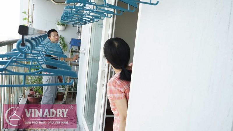 Lắp giàn phơi thông minh tại Tây Hồ, chung cư CT2 Xuân Đỉnh cho nhà chị Vân