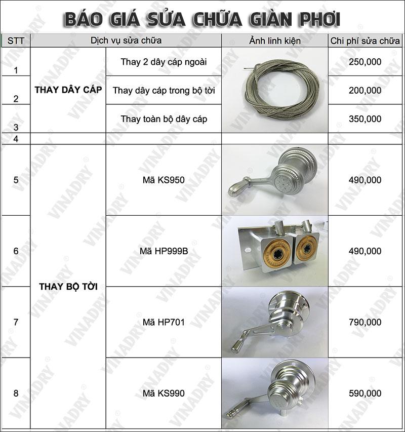 Báo giá dịch vụ sửa chữa giàn phơi, thay thế linh kiện giàn phơi chất lượng tại Hà Nội và HCM