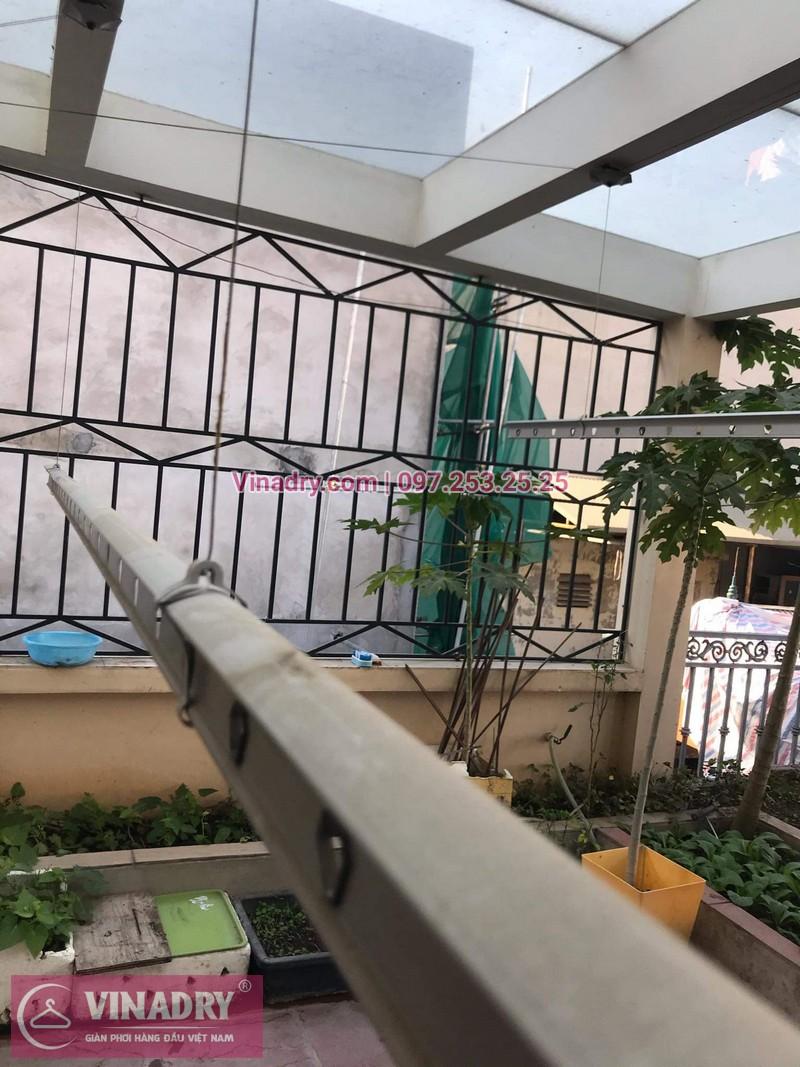 Vinadry sửa chữa giàn phơi Hà Nội giá rẻ, thay 2 dây cáp giàn phơi chất lượng tại 112 Hoàng Quốc Việt, Bắc Từ Liêm cho nhà cô Hà