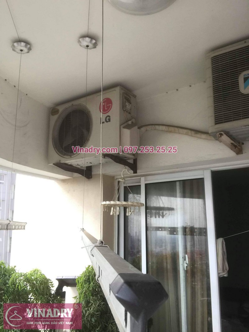 Lắp giàn phơi thông minh giá rẻ - Lưới an toàn ban công giá tốt - Vinadry lắp giàn phơi KS950 và lưới an toàn ban công tại Thanh Xuân cho nhà anh Tiến - 05
