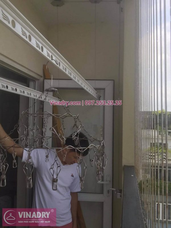 Thay dây cáp giàn phơi thông minh tại chung cư Gia Thụy, Long Biên: nhà chị Mùi