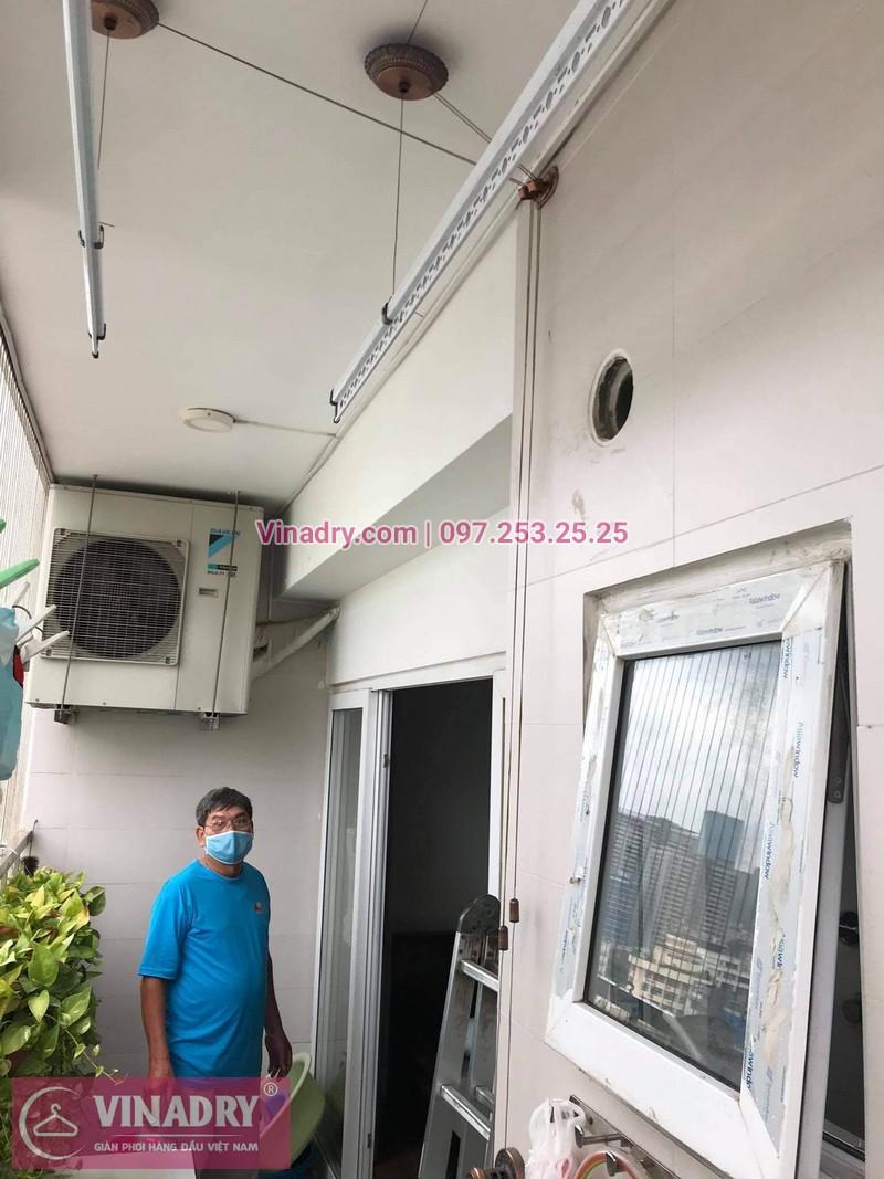 Sửa giàn phơi quần áo Tây Hồ, Hà Nội: Thay dây cáp tại chung cư Học viện Quốc Phòng, nhà bác Trung - 02