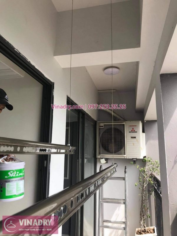 Lắp giàn phơi chung cư Sunshine Palace, Hoàng Mai: Bộ GP941 tại nhà chị Bích